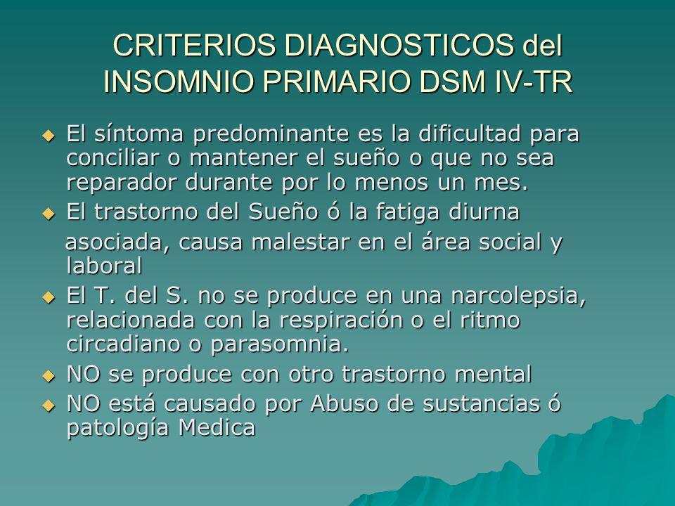 CRITERIOS DIAGNOSTICOS del INSOMNIO PRIMARIO DSM IV-TR El síntoma predominante es la dificultad para conciliar o mantener el sueño o que no sea repara