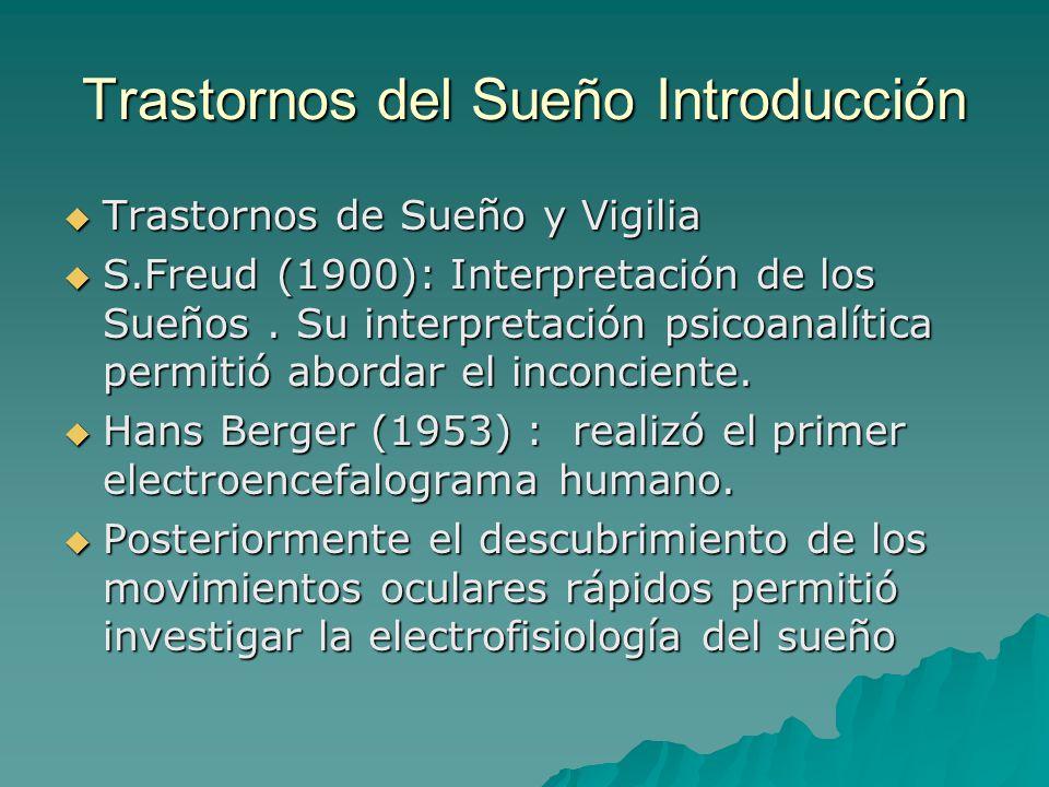 Trastornos del Sueño Introducción Trastornos de Sueño y Vigilia Trastornos de Sueño y Vigilia S.Freud (1900): Interpretación de los Sueños. Su interpr