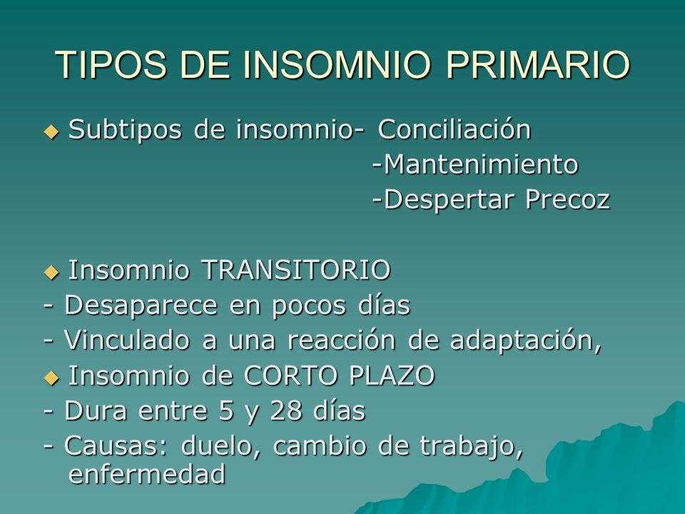 TIPOS DE INSOMNIO PRIMARIO Subtipos de insomnio- Conciliación Subtipos de insomnio- Conciliación -Mantenimiento -Mantenimiento -Despertar Precoz -Desp