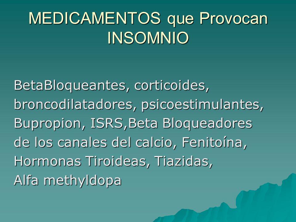 MEDICAMENTOS que Provocan INSOMNIO BetaBloqueantes, corticoides, broncodilatadores, psicoestimulantes, Bupropion, ISRS,Beta Bloqueadores de los canale