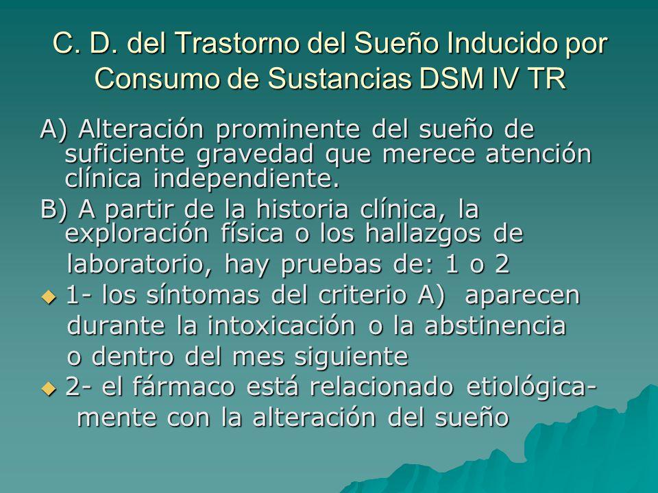 C. D. del Trastorno del Sueño Inducido por Consumo de Sustancias DSM IV TR A) Alteración prominente del sueño de suficiente gravedad que merece atenci