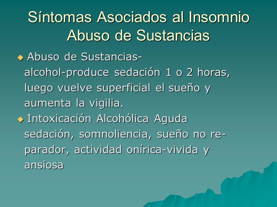 Síntomas Asociados al Insomnio Abuso de Sustancias Abuso de Sustancias- Abuso de Sustancias- alcohol-produce sedación 1 o 2 horas, alcohol-produce sed