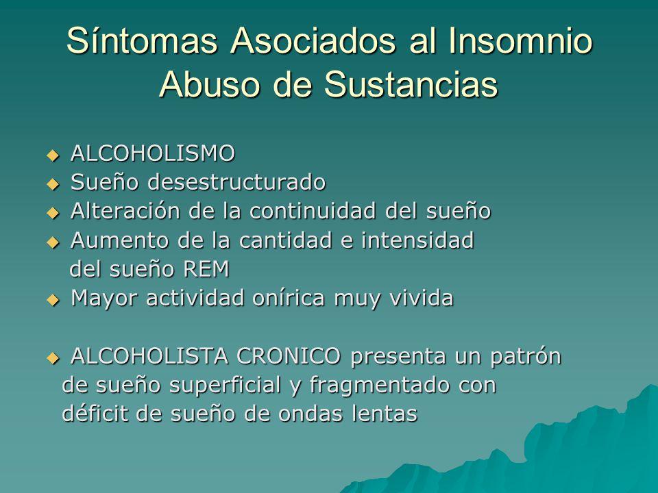Síntomas Asociados al Insomnio Abuso de Sustancias ALCOHOLISMO ALCOHOLISMO Sueño desestructurado Sueño desestructurado Alteración de la continuidad de