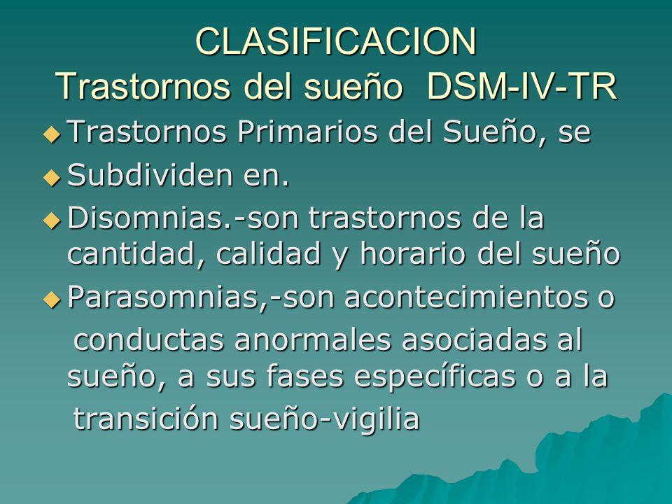 CLASIFICACION Trastornos del sueño DSM-IV-TR Trastornos Primarios del Sueño, se Trastornos Primarios del Sueño, se Subdividen en. Subdividen en. Disom