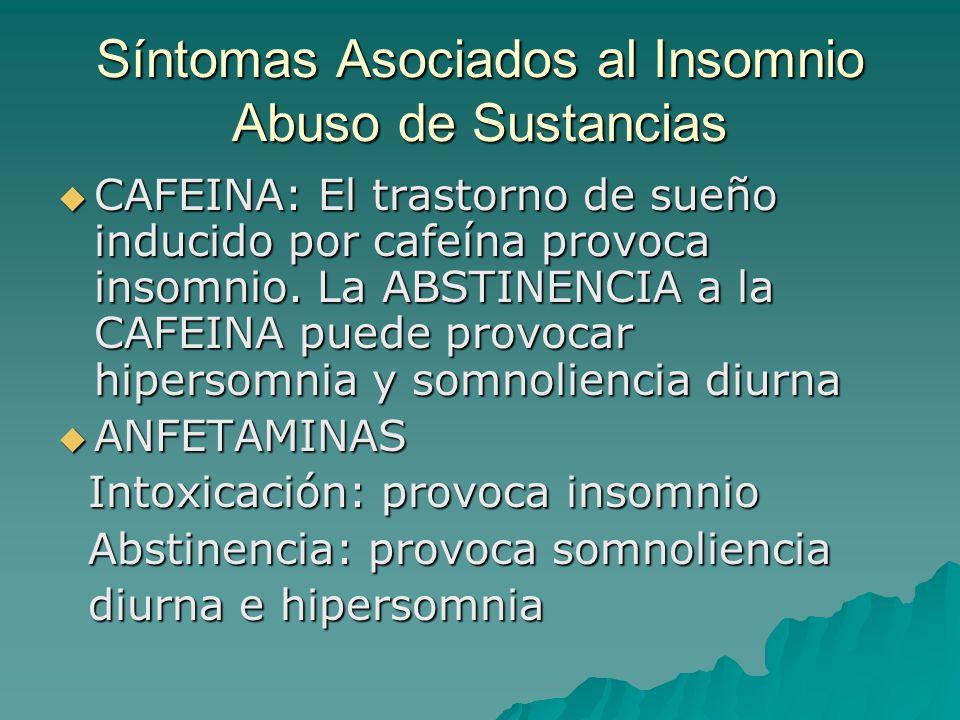 Síntomas Asociados al Insomnio Abuso de Sustancias CAFEINA: El trastorno de sueño inducido por cafeína provoca insomnio. La ABSTINENCIA a la CAFEINA p