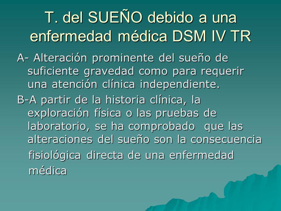 T. del SUEÑO debido a una enfermedad médica DSM IV TR A- Alteración prominente del sueño de suficiente gravedad como para requerir una atención clínic