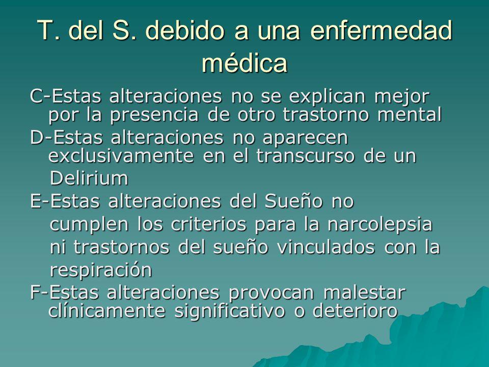 T. del S. debido a una enfermedad médica C-Estas alteraciones no se explican mejor por la presencia de otro trastorno mental D-Estas alteraciones no a