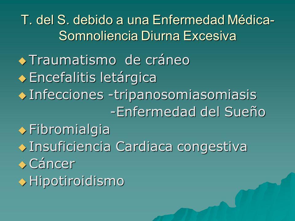 T. del S. debido a una Enfermedad Médica- Somnoliencia Diurna Excesiva Traumatismo de cráneo Traumatismo de cráneo Encefalitis letárgica Encefalitis l