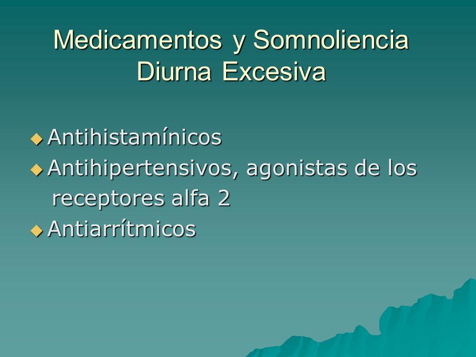 Medicamentos y Somnoliencia Diurna Excesiva Antihistamínicos Antihistamínicos Antihipertensivos, agonistas de los Antihipertensivos, agonistas de los
