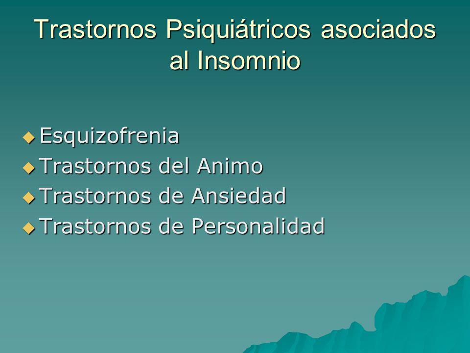Trastornos Psiquiátricos asociados al Insomnio Esquizofrenia Esquizofrenia Trastornos del Animo Trastornos del Animo Trastornos de Ansiedad Trastornos