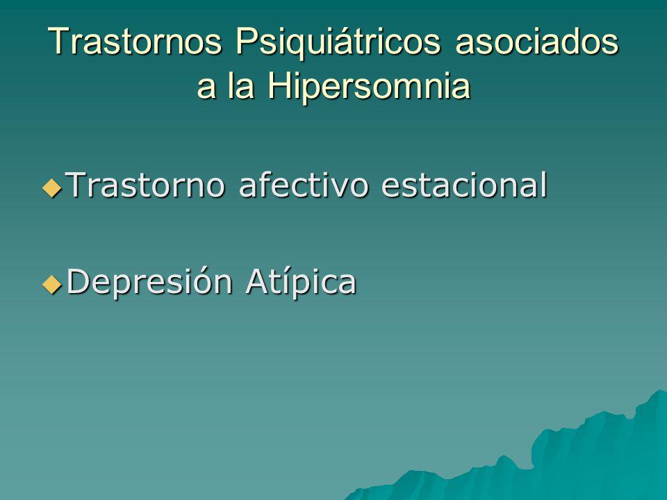 Trastornos Psiquiátricos asociados a la Hipersomnia Trastorno afectivo estacional Trastorno afectivo estacional Depresión Atípica Depresión Atípica