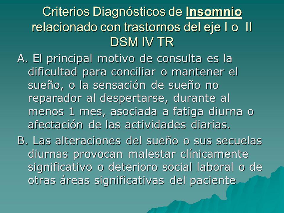 Criterios Diagnósticos de Insomnio relacionado con trastornos del eje I o II DSM IV TR A. El principal motivo de consulta es la dificultad para concil