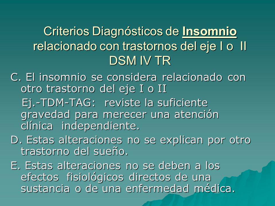 Criterios Diagnósticos de Insomnio relacionado con trastornos del eje I o II DSM IV TR C. El insomnio se considera relacionado con otro trastorno del