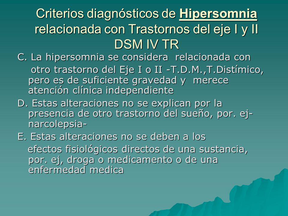 Criterios diagnósticos de Hipersomnia relacionada con Trastornos del eje I y II DSM IV TR C. La hipersomnia se considera relacionada con otro trastorn