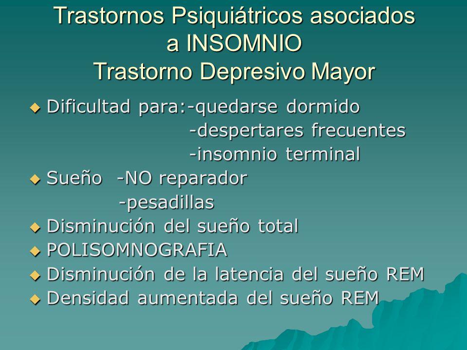 Trastornos Psiquiátricos asociados a INSOMNIO Trastorno Depresivo Mayor Dificultad para:-quedarse dormido Dificultad para:-quedarse dormido -despertar