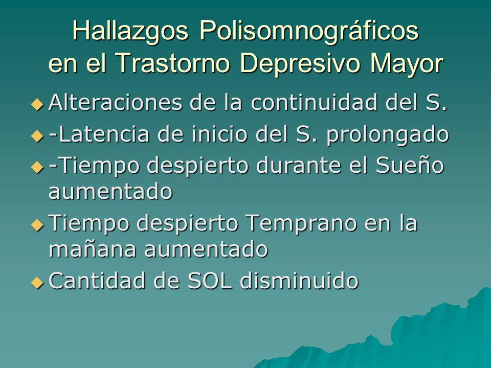 Hallazgos Polisomnográficos en el Trastorno Depresivo Mayor Alteraciones de la continuidad del S. Alteraciones de la continuidad del S. -Latencia de i