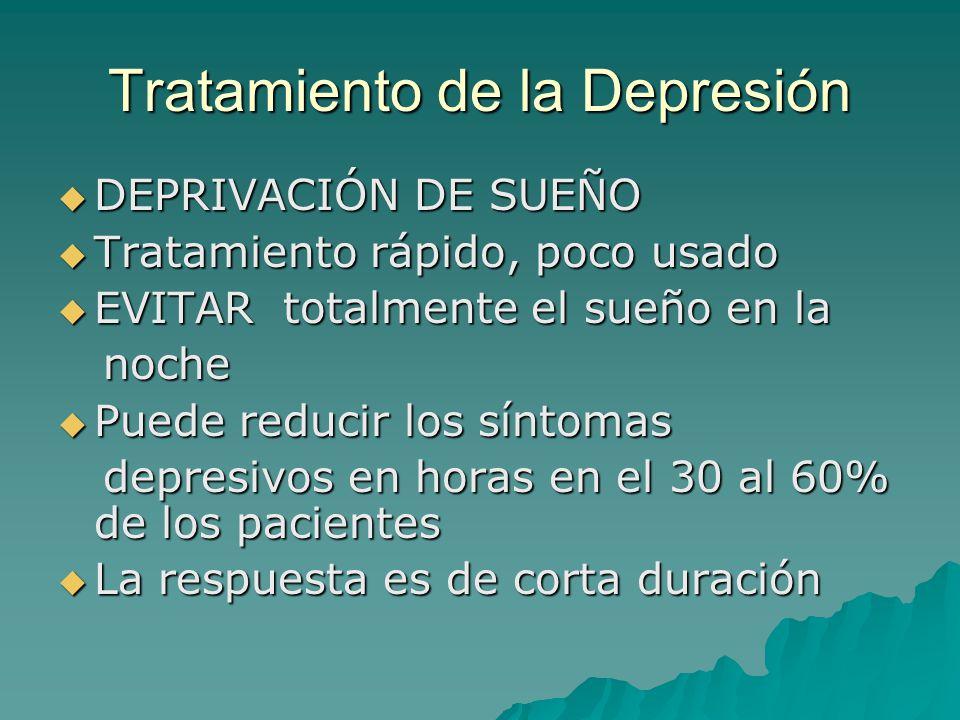 Tratamiento de la Depresión DEPRIVACIÓN DE SUEÑO DEPRIVACIÓN DE SUEÑO Tratamiento rápido, poco usado Tratamiento rápido, poco usado EVITAR totalmente