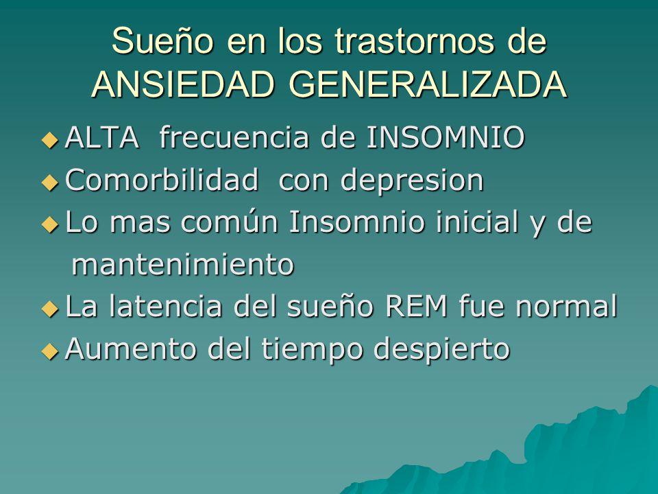 Sueño en los trastornos de ANSIEDAD GENERALIZADA ALTA frecuencia de INSOMNIO ALTA frecuencia de INSOMNIO Comorbilidad con depresion Comorbilidad con d