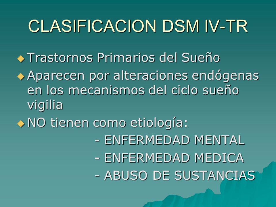 CLASIFICACION DSM IV-TR Trastornos Primarios del Sueño Trastornos Primarios del Sueño Aparecen por alteraciones endógenas en los mecanismos del ciclo