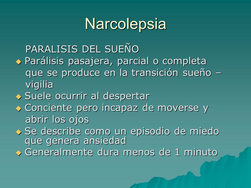 Narcolepsia PARALISIS DEL SUEÑO PARALISIS DEL SUEÑO Parálisis pasajera, parcial o completa Parálisis pasajera, parcial o completa que se produce en la