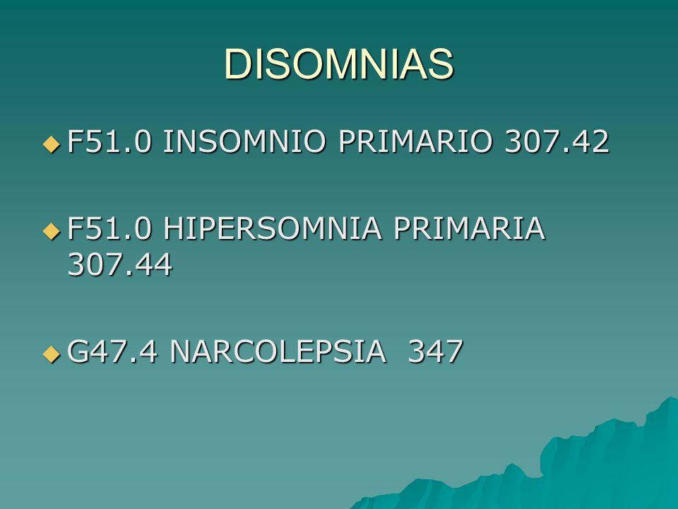 DISOMNIAS F51.0 INSOMNIO PRIMARIO 307.42 F51.0 INSOMNIO PRIMARIO 307.42 F51.0 HIPERSOMNIA PRIMARIA 307.44 F51.0 HIPERSOMNIA PRIMARIA 307.44 G47.4 NARC