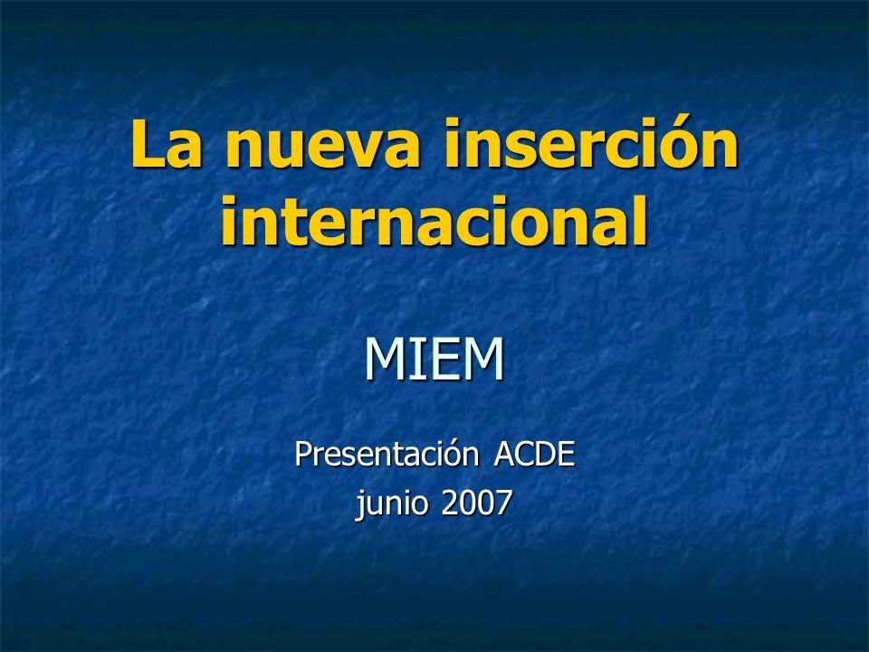 Nueva estrategia Rol del MIEM Apoyo a misiones comerciales Apoyo a misiones comerciales Estudios para detectar potencialidad de productos para la exportación en el marco de TLCs.