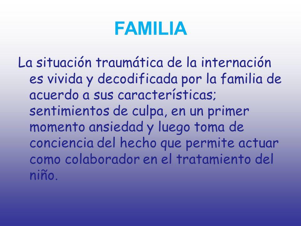 HOSPITAL El equipo de salud actúa desde lo vincular para promover los cuidados de acuerdo a la patología del niño, estructura de cada familia, personales, etc.