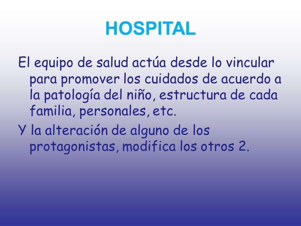 HOSPITAL El equipo de salud actúa desde lo vincular para promover los cuidados de acuerdo a la patología del niño, estructura de cada familia, persona