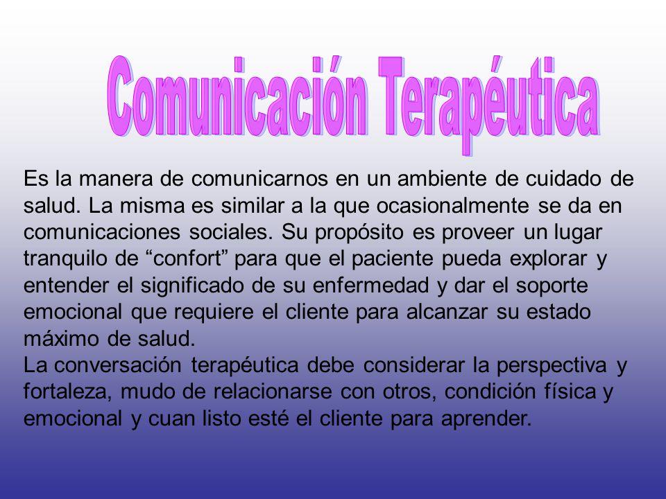 óptima empatía La comunicación terapéutica requiere de una distancia óptima, que implica la inclusión de la empatía en el proceso de comunicación.