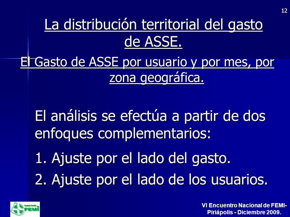 La distribución territorial del gasto de ASSE.