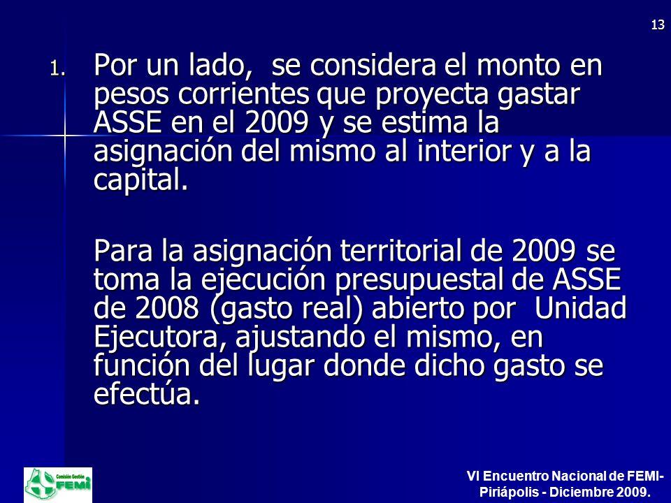 ASSE GASTO ESTIMADO PARA 2009.ASSE GASTO ESTIMADO PARA 2009.
