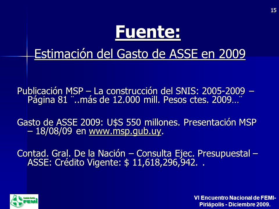 Fuente: Estimación del Gasto de ASSE en 2009 Publicación MSP – La construcción del SNIS: 2005-2009 – Página 81 ¨..más de 12.000 mill.