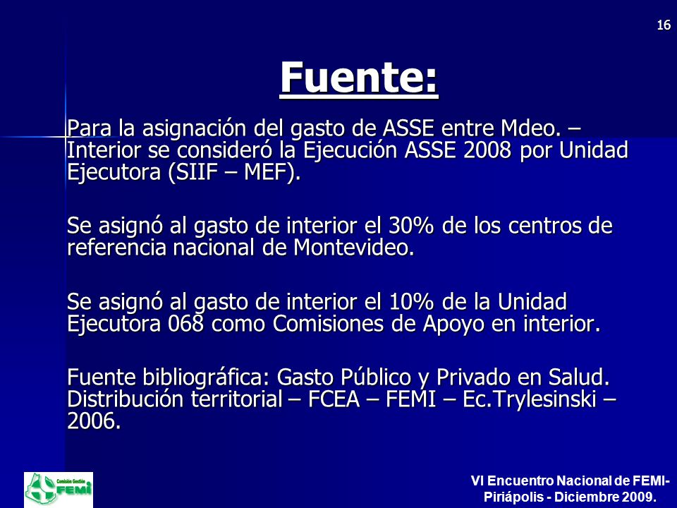 Fuente: Para la asignación del gasto de ASSE entre Mdeo.