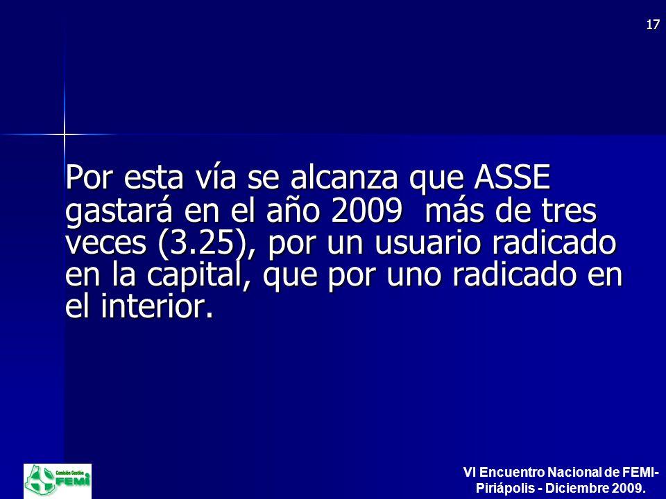 Por esta vía se alcanza que ASSE gastará en el año 2009 más de tres veces (3.25), por un usuario radicado en la capital, que por uno radicado en el interior.