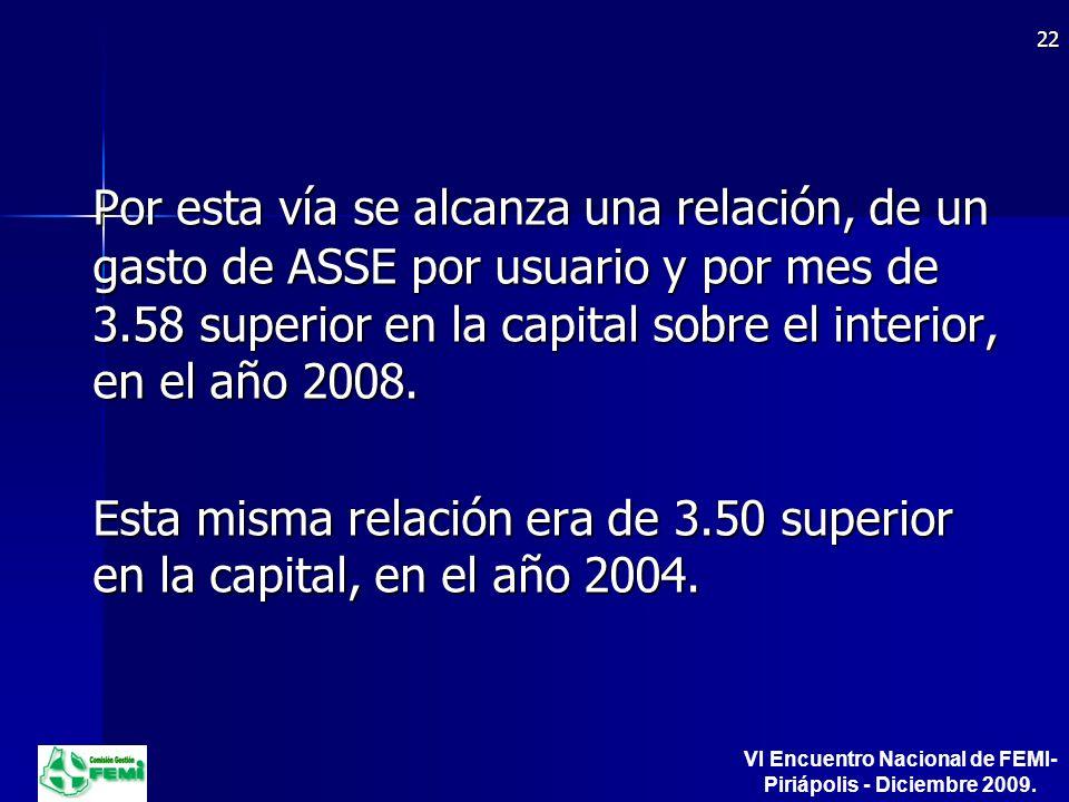 Por esta vía se alcanza una relación, de un gasto de ASSE por usuario y por mes de 3.58 superior en la capital sobre el interior, en el año 2008.