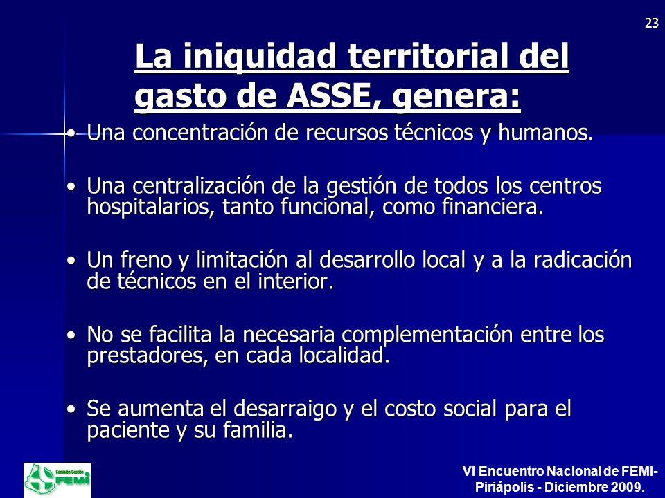La iniquidad territorial del gasto de ASSE, genera: Una concentración de recursos técnicos y humanos.Una concentración de recursos técnicos y humanos.