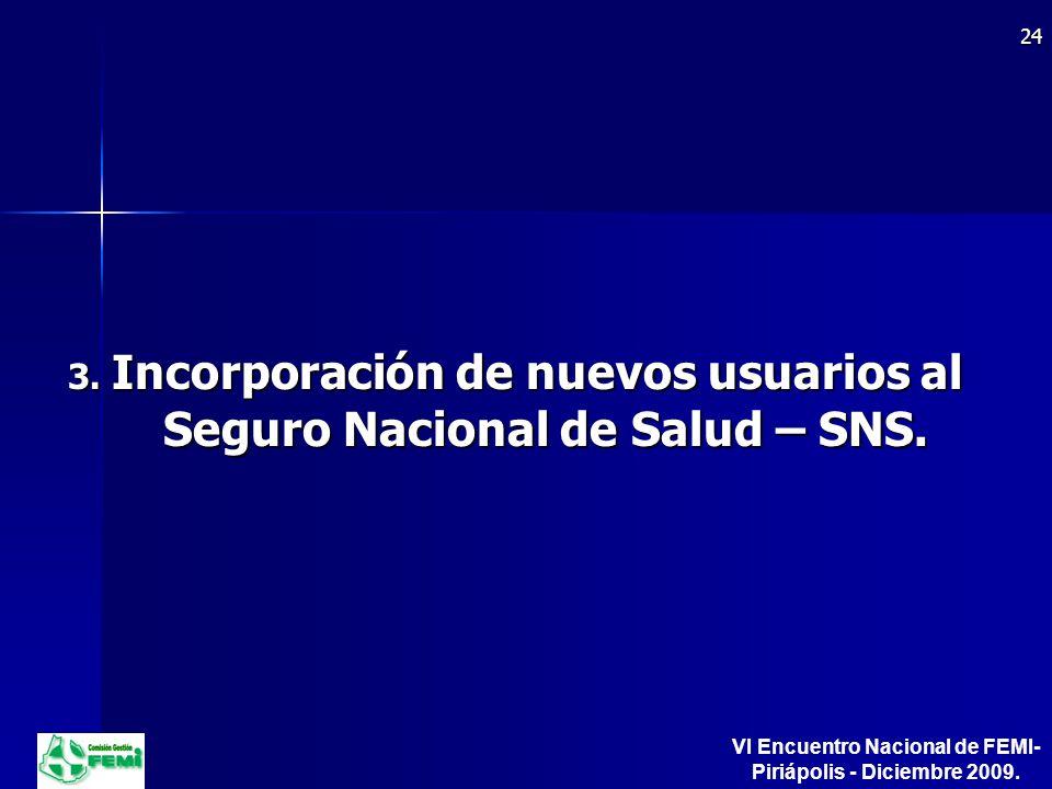 3. Incorporación de nuevos usuarios al Seguro Nacional de Salud – SNS.