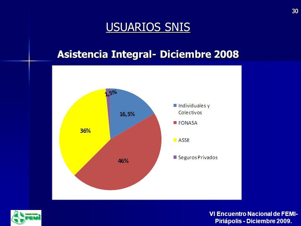 USUARIOS SNIS Asistencia Integral- Diciembre 2008 30 VI Encuentro Nacional de FEMI- Piriápolis - Diciembre 2009.