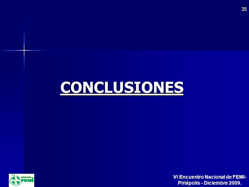 CONCLUSIONES 35 VI Encuentro Nacional de FEMI- Piriápolis - Diciembre 2009.