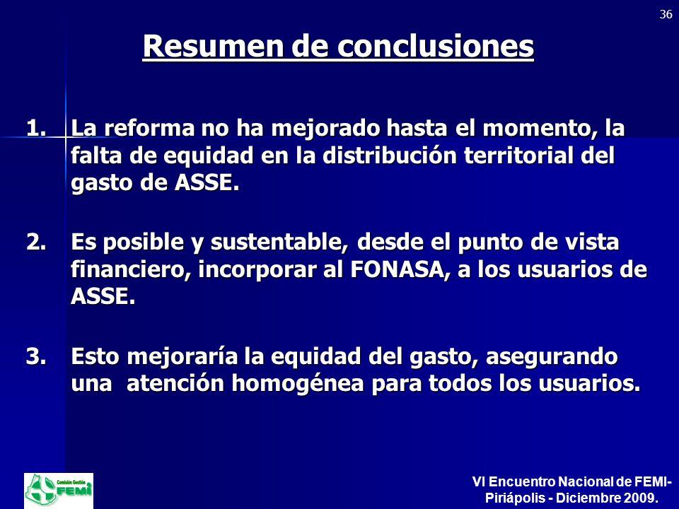 Resumen de conclusiones 1.La reforma no ha mejorado hasta el momento, la falta de equidad en la distribución territorial del gasto de ASSE.
