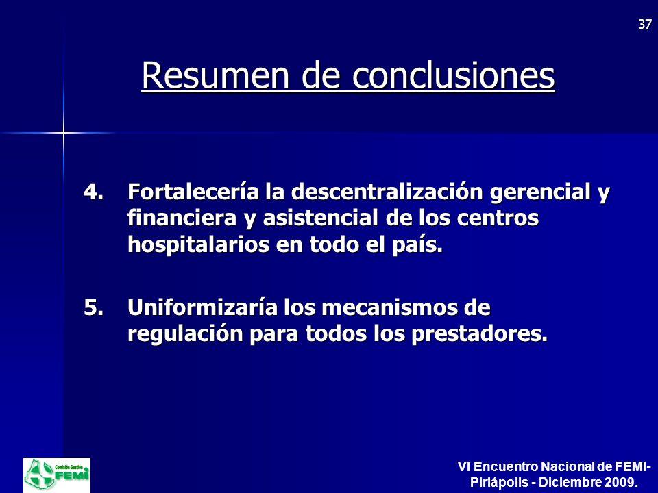 Resumen de conclusiones 4.Fortalecería la descentralización gerencial y financiera y asistencial de los centros hospitalarios en todo el país.