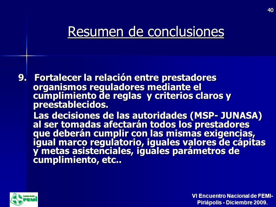 Resumen de conclusiones 9.