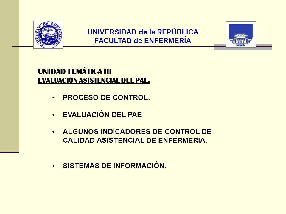 UNIVERSIDAD de la REPÚBLICA FACULTAD de ENFERMERÍA UNIDAD TEMÁTICA III EVALUACIÓN ASISTENCIAL DEL PAE. PROCESO DE CONTROL. EVALUACIÓN DEL PAE ALGUNOS