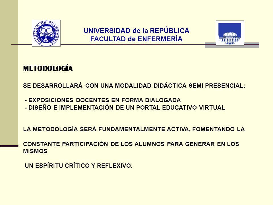 UNIVERSIDAD de la REPÚBLICA FACULTAD de ENFERMERÍA METODOLOGÍA SE DESARROLLARÁ CON UNA MODALIDAD DIDÁCTICA SEMI PRESENCIAL: - EXPOSICIONES DOCENTES EN