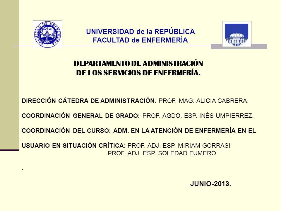 UNIVERSIDAD de la REPÚBLICA FACULTAD de ENFERMERÍA DEPARTAMENTO DE ADMINISTRACIÓN DE LOS SERVICIOS DE ENFERMERÍA. DIRECCIÓN CÁTEDRA DE ADMINISTRACIÓN: