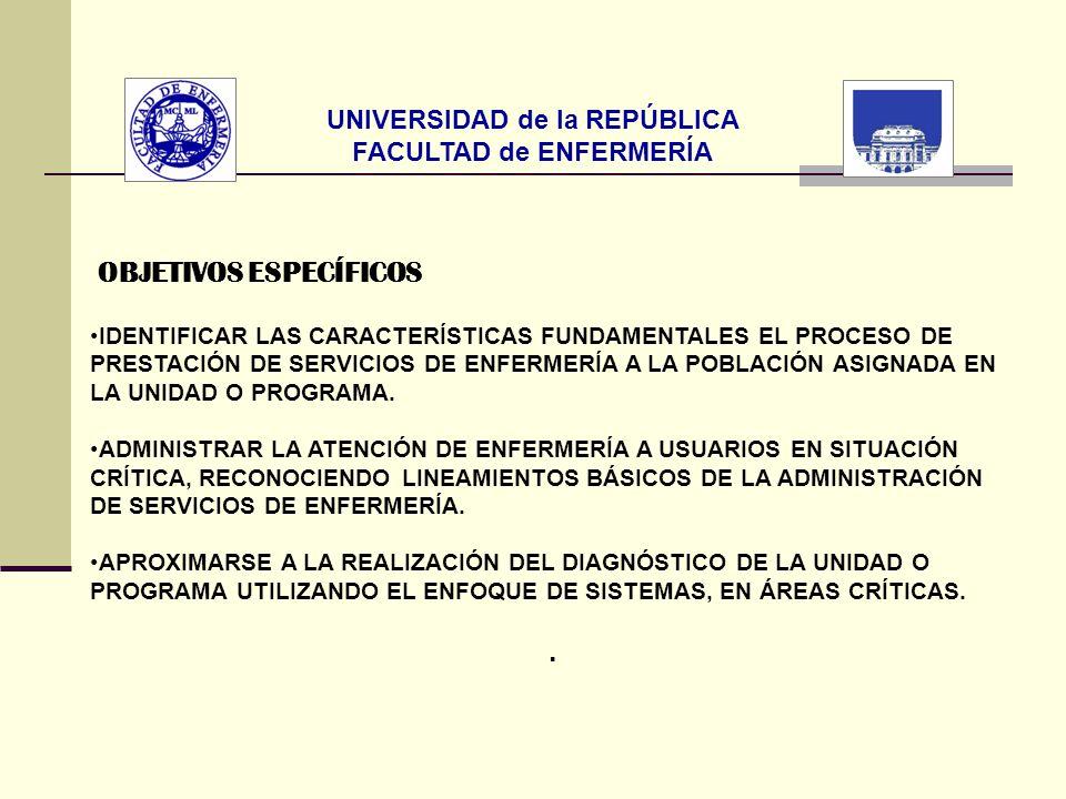 UNIVERSIDAD de la REPÚBLICA FACULTAD de ENFERMERÍA OBJETIVOS ESPECÍFICOS IDENTIFICAR LAS CARACTERÍSTICAS FUNDAMENTALES EL PROCESO DE PRESTACIÓN DE SER