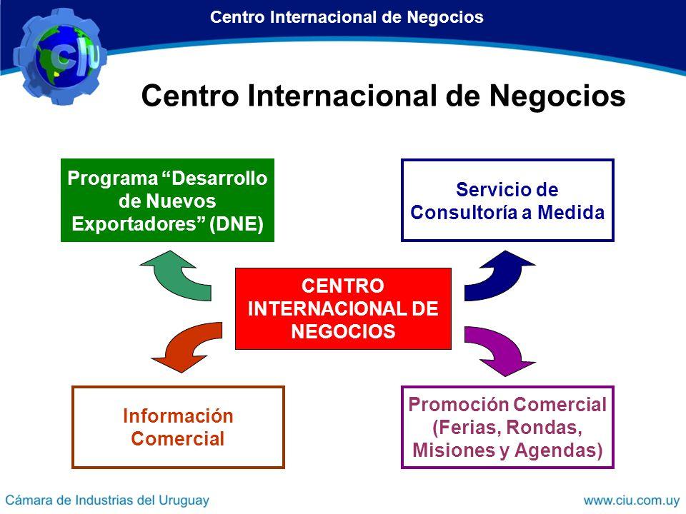 Centro Internacional de Negocios Programa Desarrollo de Nuevos Exportadores (DNE) Promoción Comercial (Ferias, Rondas, Misiones y Agendas) Información
