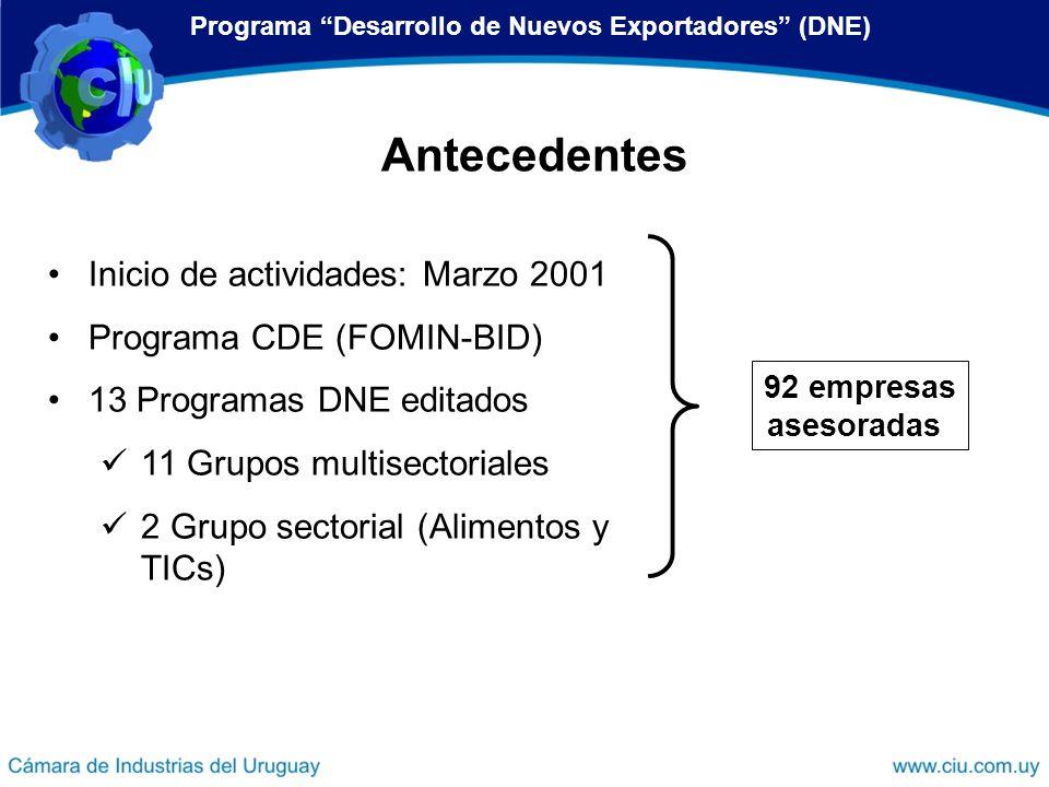Inicio de actividades: Marzo 2001 Programa CDE (FOMIN-BID) 13 Programas DNE editados 11 Grupos multisectoriales 2 Grupo sectorial (Alimentos y TICs) 9