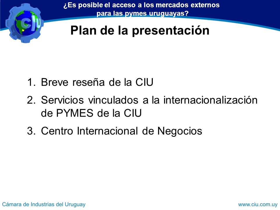 Plan de la presentación 1.Breve reseña de la CIU 2.Servicios vinculados a la internacionalización de PYMES de la CIU 3.Centro Internacional de Negocio