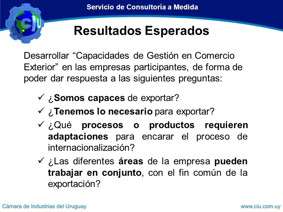 Resultados Esperados Desarrollar Capacidades de Gestión en Comercio Exterior en las empresas participantes, de forma de poder dar respuesta a las sigu